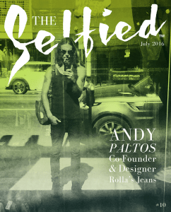 Andy Paltos C0-Founder and Designer of Rolla's Jeans on the cover of The Selfied