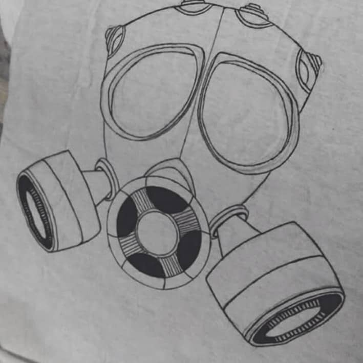 A Karina Nikole drawing of a gas mask