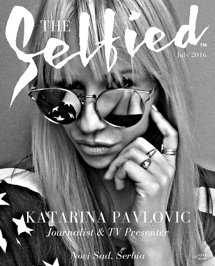 a black and white selfie by katarina pavlovic a journalist and tv presenter