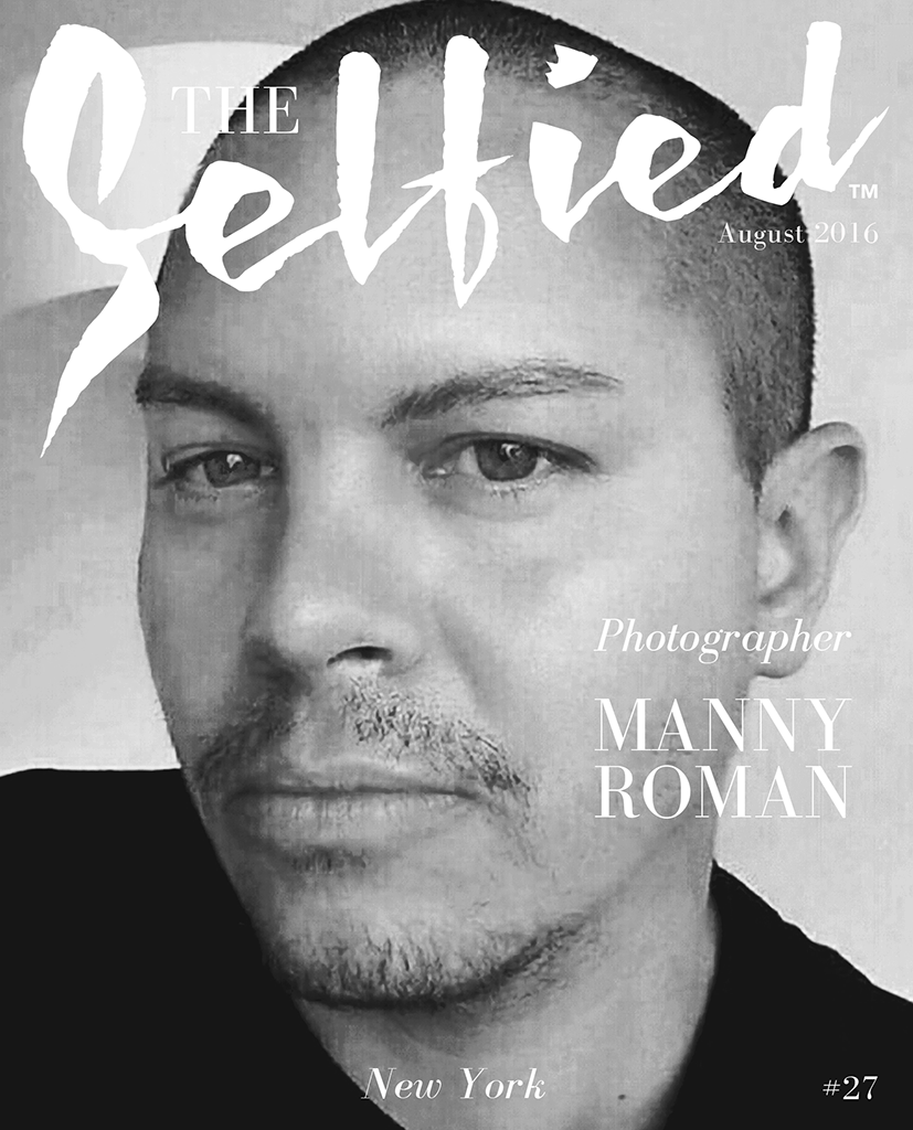A black and white self portrait or selfie by Manny Roman a photographer from New York