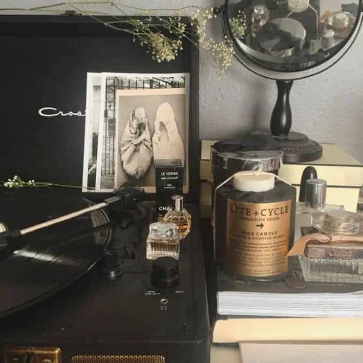 room still life with record player and mirror