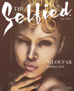 Niloufar golden girl from Tehran selfie for the cover of The Selfied