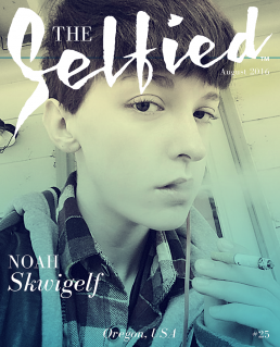 A self portrait or selfie of Noah Skwigelf for the cover of The Selfied