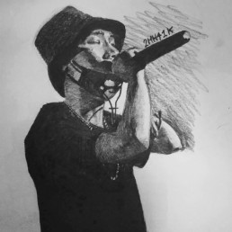 sketch of rapper with mic, by Chamswag