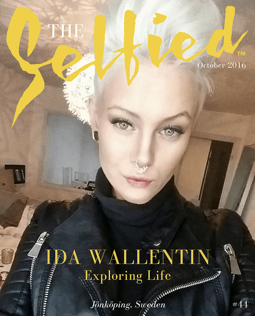 A selfie of Ida Wallentin, a Tattoo artist from Jonkoping, Sweden, wearing a black leather jacket