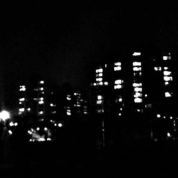 A black and white city skyline at night
