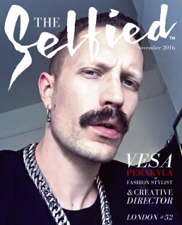A selfie by Vesa Perakyla, a fashion stylist and creative director from London, on the cover of The Selfied magazine
