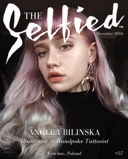 Tattooist Angeia Bilinska selfie pic on the cover of The Selfied Magazine