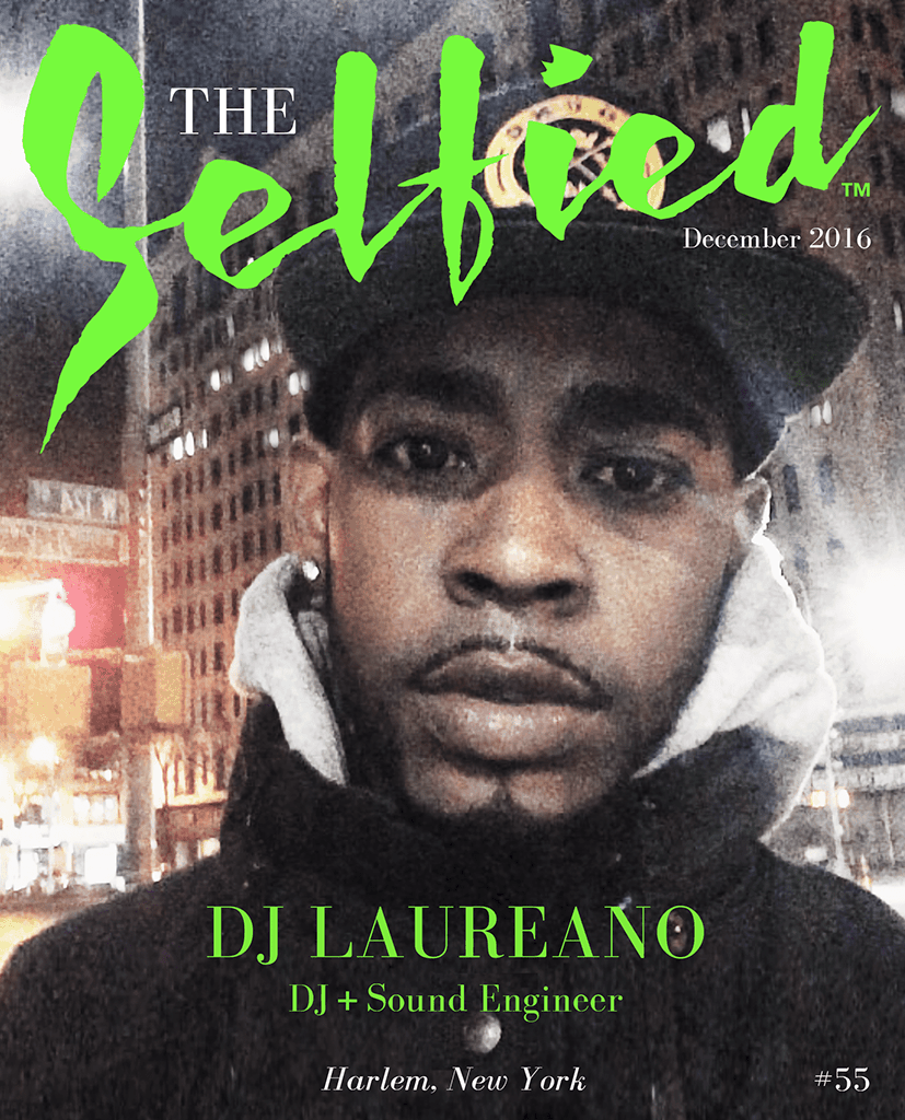 A selfie of DJ Laureano for the cover of The Selfied Magazine
