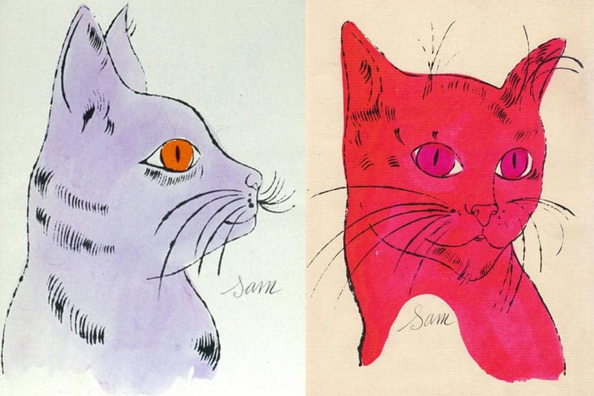 Illustration of cats by Andy Warhol