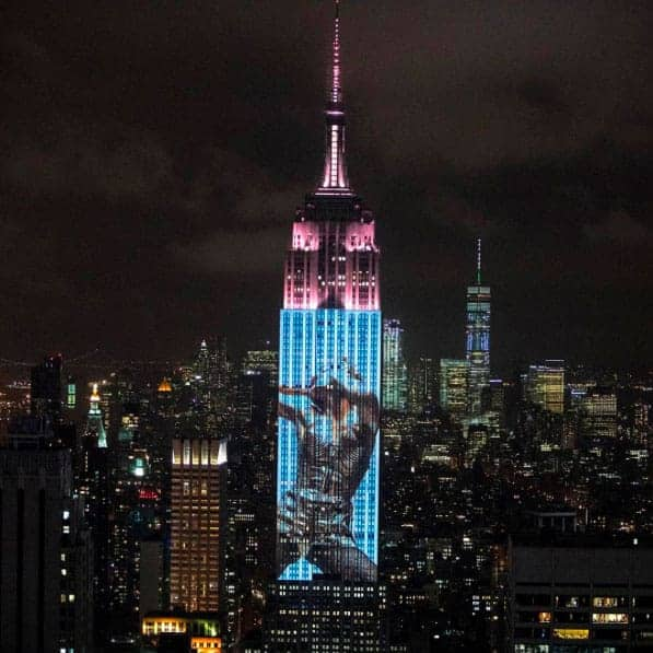 Madonna projected on the side of the Empire State Building