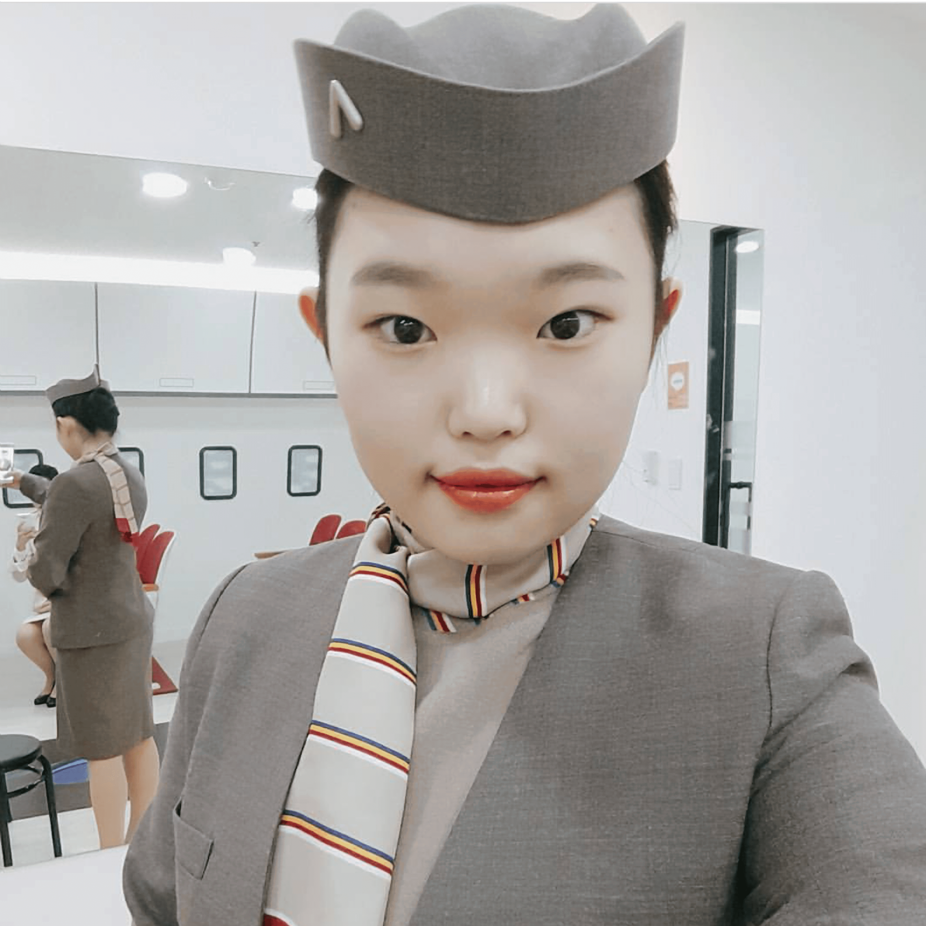 A selfie pic of Eunvely during cabin crew experience