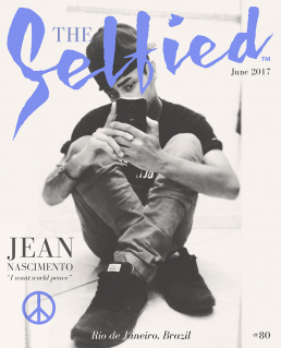 Selfie pic of Jean Nascimento on the cover of The Selfied magazine. Peace.