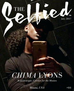 A selfie pic of artist and sculptor Chima Lyons on the cover of The Selfied Magazine