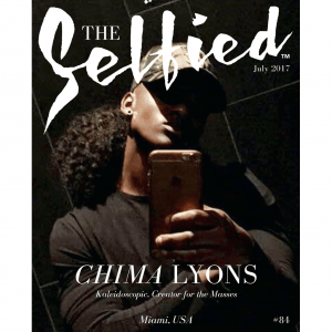 A selfie pic of artist Chima Lyons on the cover of The Selfied Magazine
