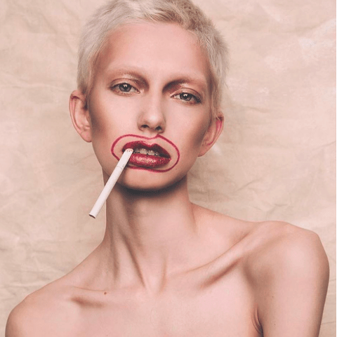 Non Binary model, Jude Karda smoking