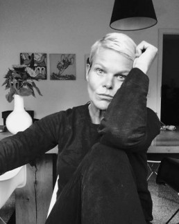A black and white Selfie pic by Sabine Sievers