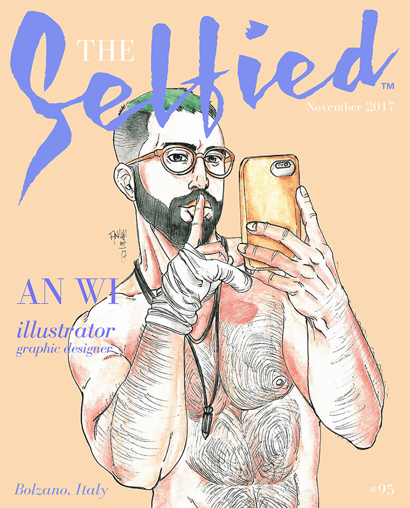 An illustration by illustrator and graphic designer AN WI on the cover of The Selfied magazine