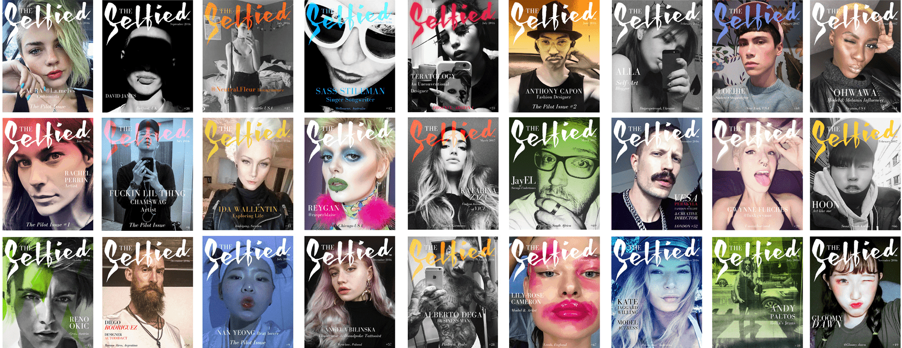 A grid of most of The Selfied selfie magazine covers