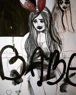 A painting of a woman with text by artist Jessica Soueidi