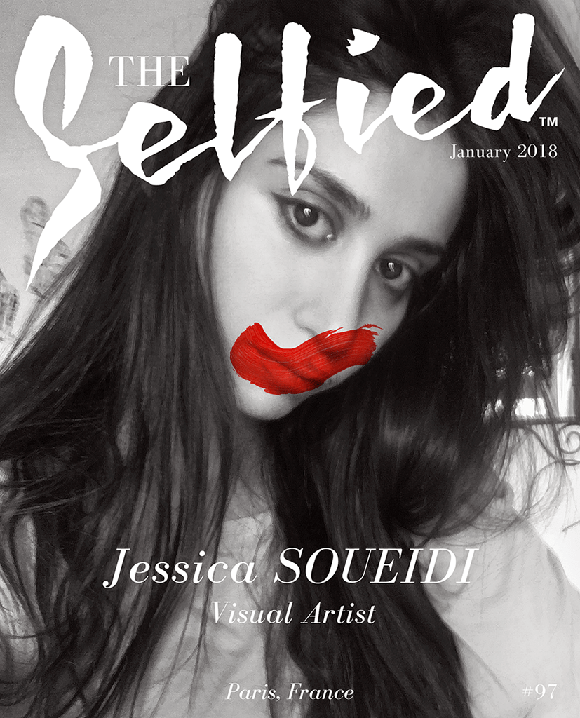 A selfie picture of artist Jessica Soueidi on the cover of The Selfied magazine